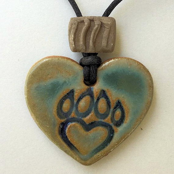Paw Print Oil Diffuser Pendant Heart Shaped Pottery Clay Handmade