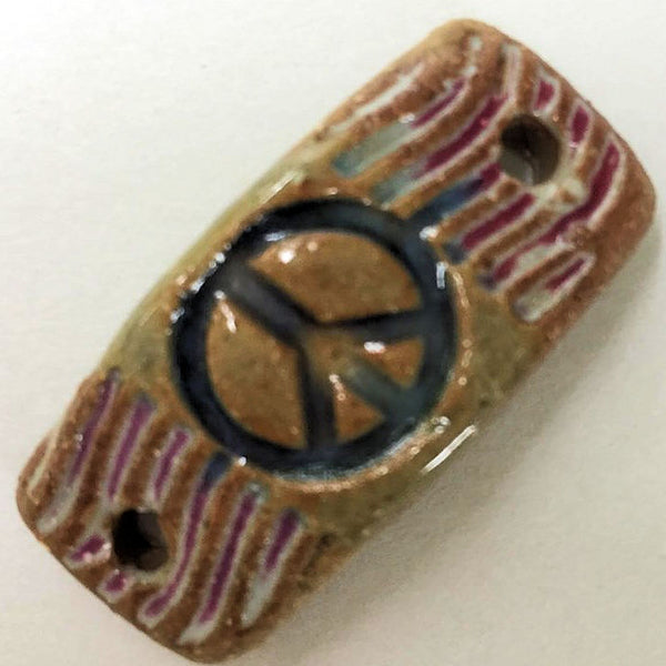 Peace Sign Rectangle Shape Bracelet Focal Bead