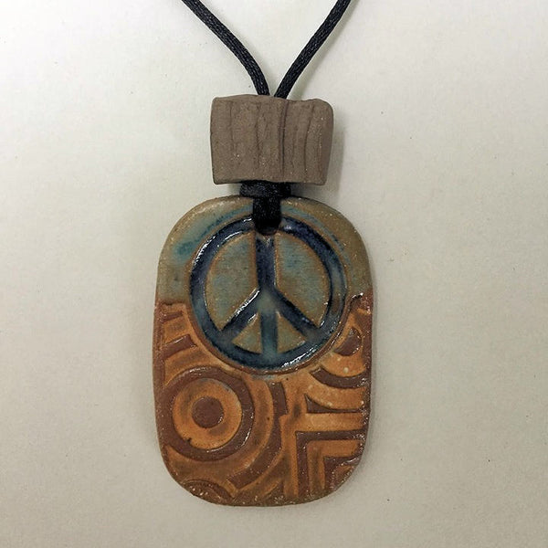 Peace Sign Rectange Shaped Essential oil diffuser clay pendant necklace