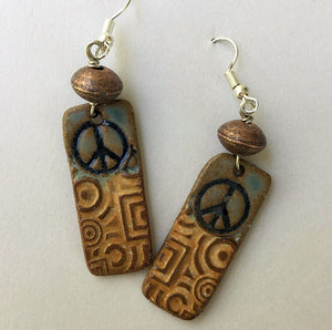 Peace Sign high fired clay earings by Helene Fielder
