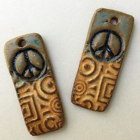 Peace Sign Earring Beads Rectangle - set of two