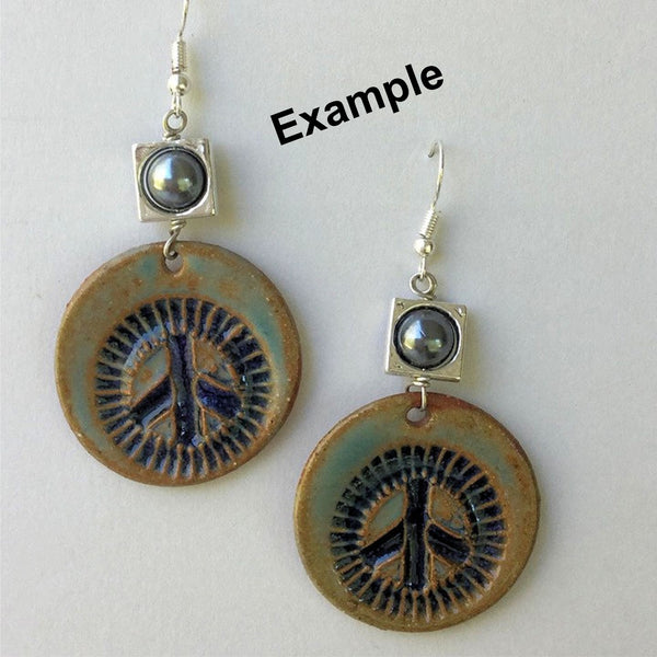 Peace Sign Earring Beads Round - set of two