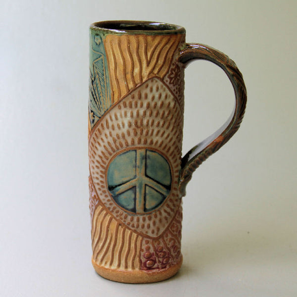 Peace Sign Handmade Coffee Mug Fits in Car console Holder