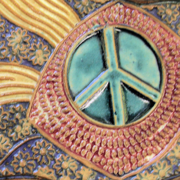 Peace Sign Platter Handmade Pottery Ceramics Microwave and Dishwasher Safe