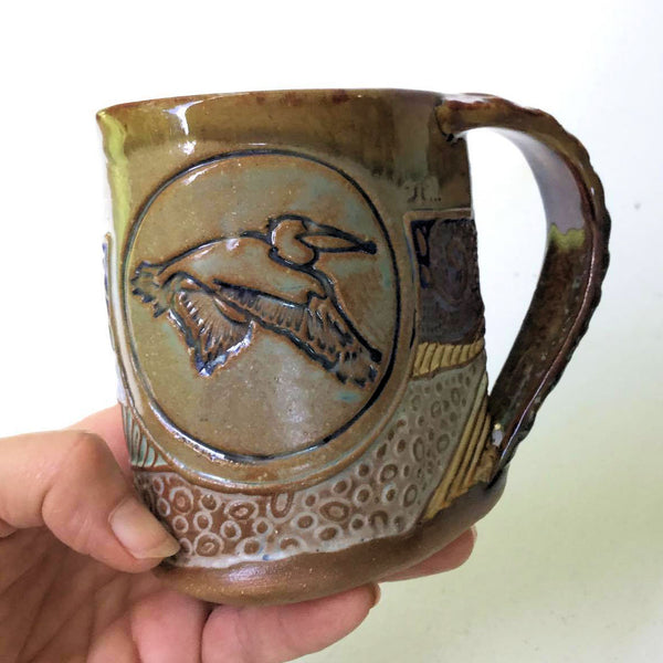 Pelican Mug Pottery Coffee Cup Hand Made 12 oz