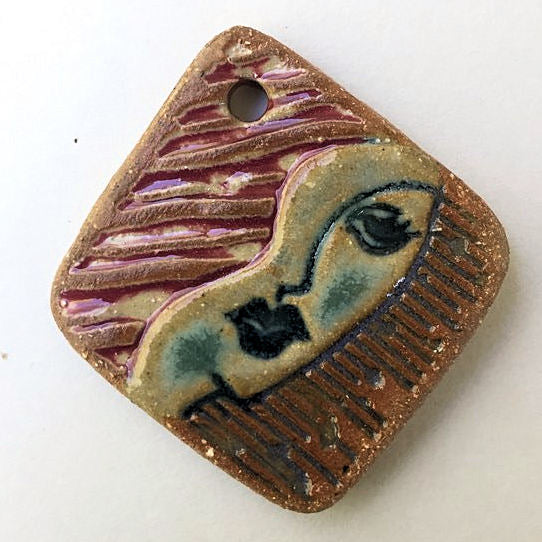 Pop Art Face Focal Bead Diamond