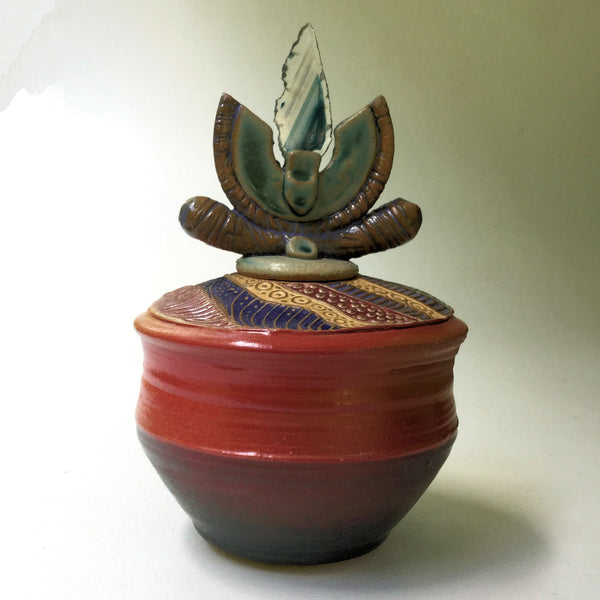 Pottery Vessel with Agate Lid Decorative Gift Vase Handmade