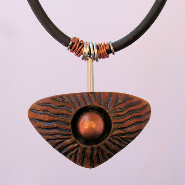 Clay Pendant Necklace with Copper Shere