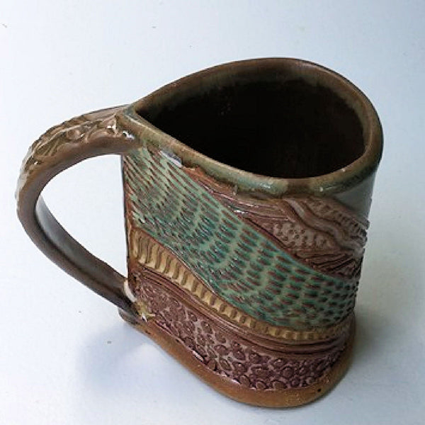 Sea Turtle Pottery Mug Coffee Cup Handmade Stoneware Tableware 12 oz
