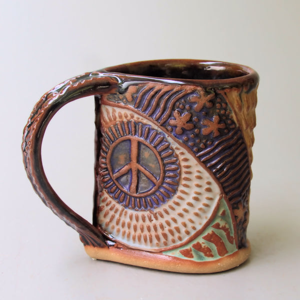 Hippie Bus Pottery Mug Coffee Cup Handmade Textural Design Functional Tableware  12 oz