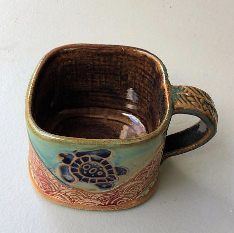 Sea Turtle Soup Mug Hand Built Stoneware Microwave and Dishwasher Safe