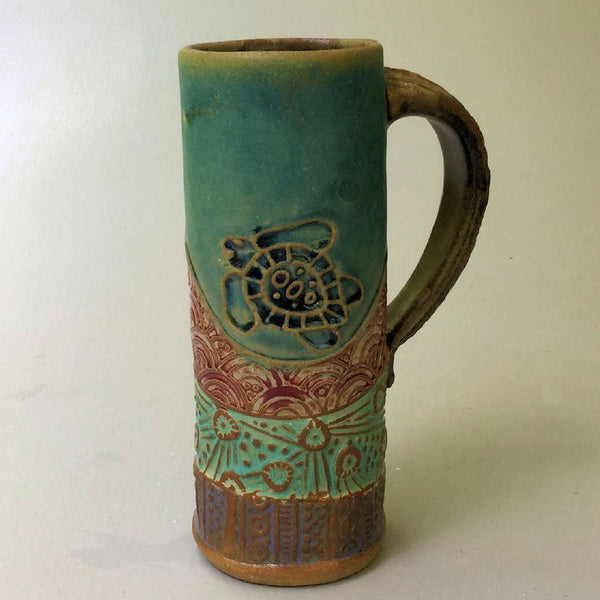 Sea Turtle Handmade Coffee Mug Fits in Car Holder