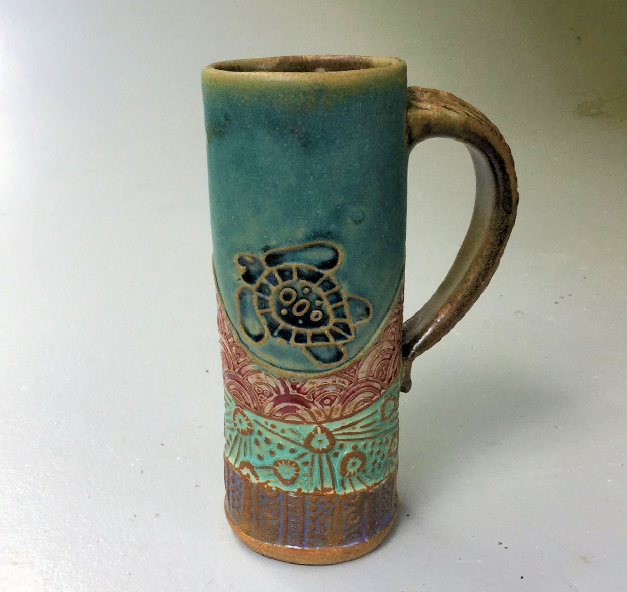 Sea Turtle Handmade Coffee Mug Fits in Car Holder 14 oz