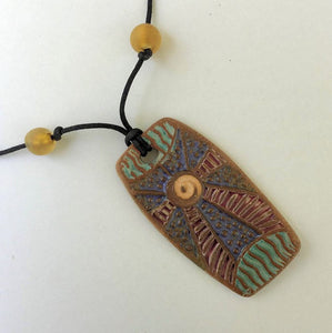 Sun Ray Clay Pendant Necklace.