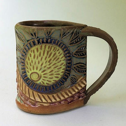 Sun Pottery Mug Coffee Cup Handmade Textural Design Functional Tableware  12 oz