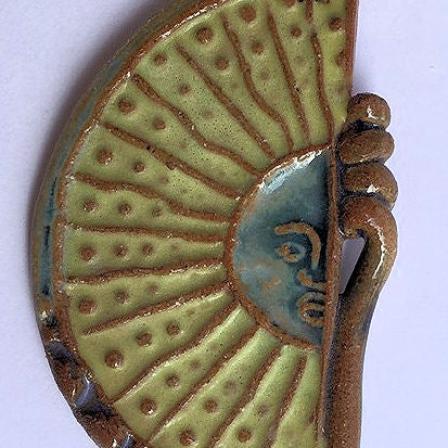 Sun Clay Pendant Necklace Handmade Pottery