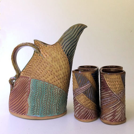 Sun Design Pitcher Set with 4 Tumblers, Pottery, Dishwasher Safe, Pottery, Ceramics