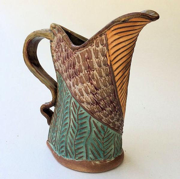 Sun Design Pottery Pitcher Hand Made Microwave and Dishwasher Safe