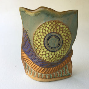 Sun Flower Vase  Hand Made Pottery High Fired Clay Vase