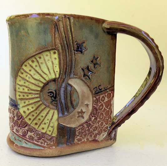 Sun and Moon Pottery Mug Coffee Cup Handmade Textural Design Functional Tableware  12 oz