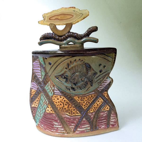 Sunfish Vessel with Agate Lid Pottery