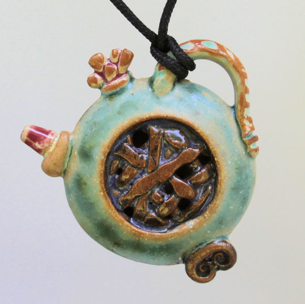 Tea Pot Sculpture Pottery Clay Pendant Necklace