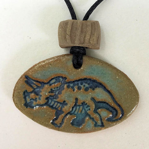 Triceratops Dinosaur Essential oil diffuser clay pendant necklace