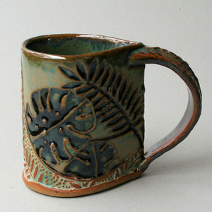 Tropical Foilage mug.  Fern mug by helene fielder