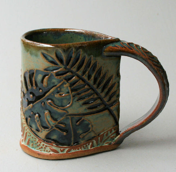 Tropical Foliage Pottery Mug Selloum Philodendron Coffee Cup Fern Handmade 12 oz