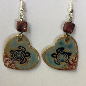 Sea Turtle pottery heart shape earrings