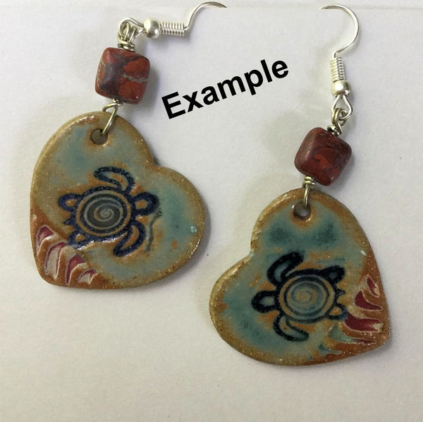 Sea Turtle Earring Beads Hearts - set of two