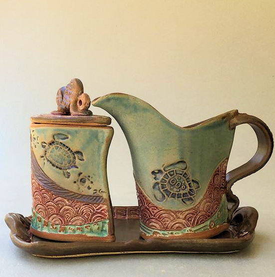 Cream and Sugar Set Sea Turtle Design Pottery Handmade Functional Tableware