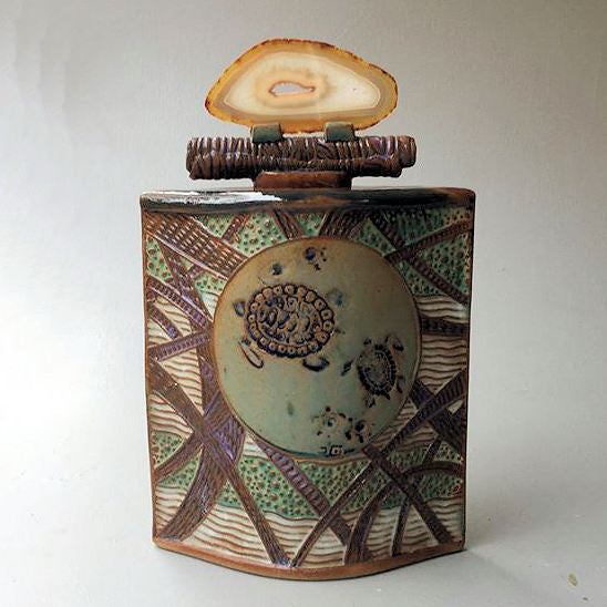 Sea Turtle Vessel with Agate Lid Handmade Ceramic Vessel Pottery
