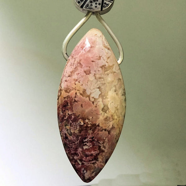 Varisite and feather ridge plume agate with hand made sterling silver chain
