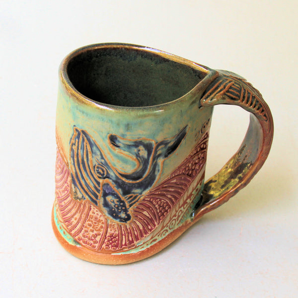 Whale Pottery Mug Coffee Cup Handmade Textural Design Functional Tableware  12 oz