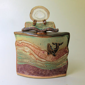 Whale Pottery Vessel with Agate Lid