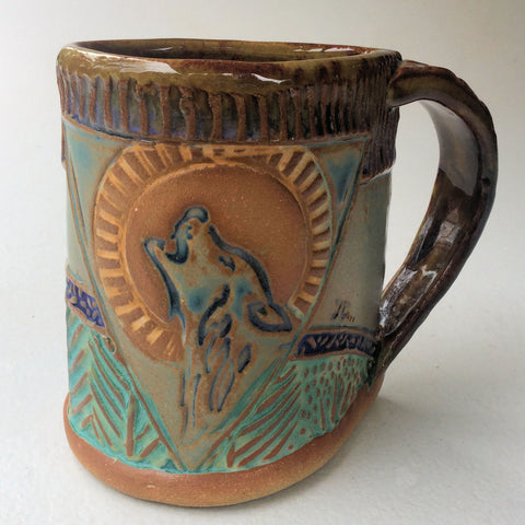 Wolf and Moon Pottery Mug Coffee Cup Handmade Textural Design Functional Tableware  12 oz