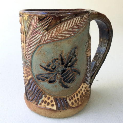 Bee Pottery Mug Coffee Cup Handmade Textural Design Functional Tableware  12 oz