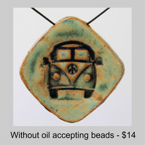 Hippie Bus Clay Pendant Necklace With Peace Sign Oil Accepting Beads -Diamond