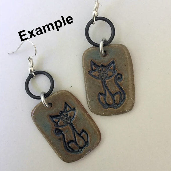 Cat Earring Beads Rectangle - set of two