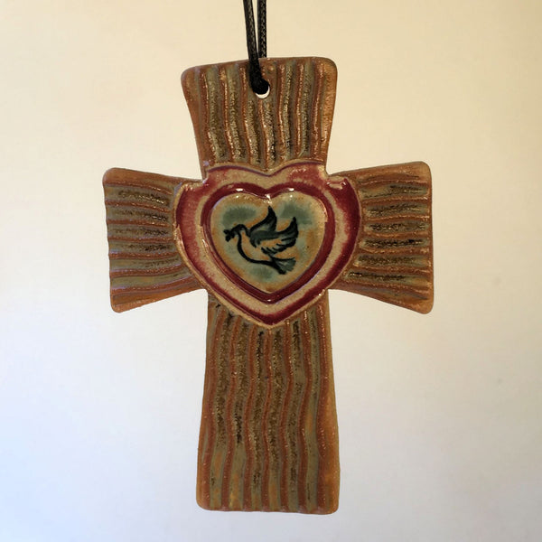 Cross with Dove in Heart Christmas Ornament
