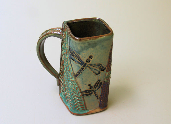Dragonfly Mug Handmade Pottery Dragonfly Mug Clay Coffee Cup 16 oz