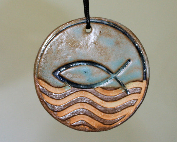 Fish Symbol Ornament with Gold Waves