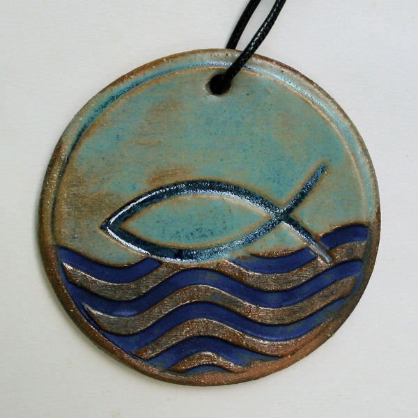 Fish Symbol Ornament with Blue Waves