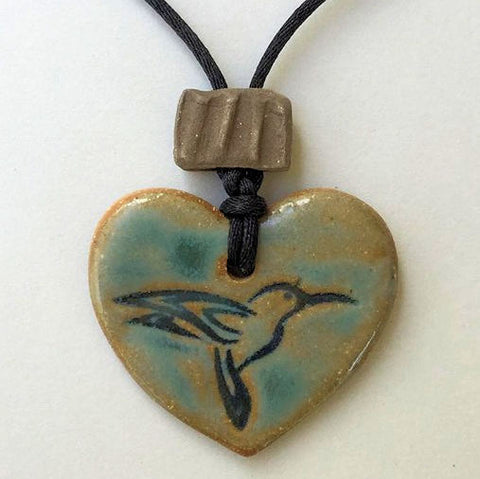 Hummingbird Oil Diffuser Pendant Heart Shaped Pottery Clay Handmade