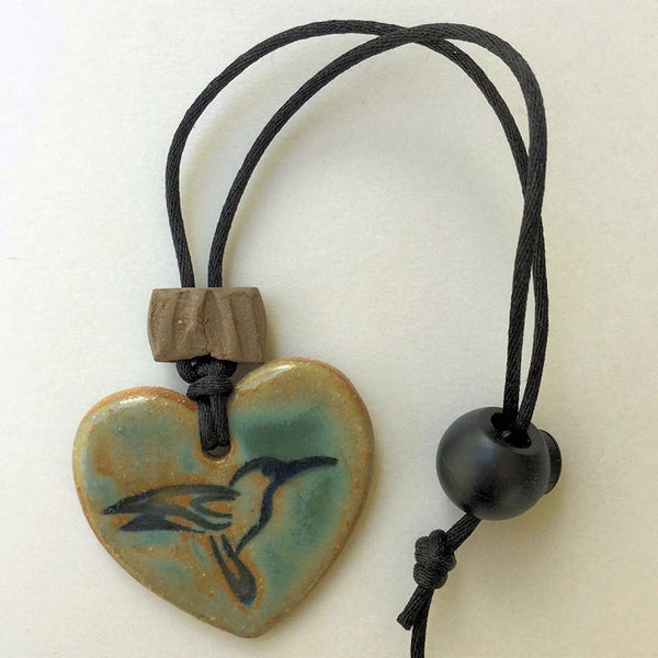 Hummingbird Heart Shaped Rear View Mirror oil diffuser clay pendant