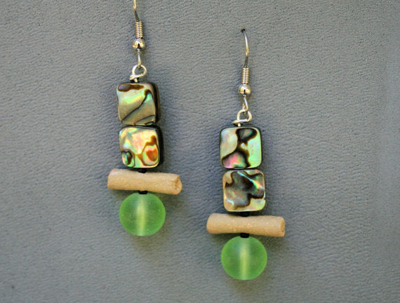 Earrings with hand-made stoneware beads. Surgical steel ear-wire, frosted glass and shell beads