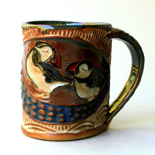 Puffin Mug, Handmade Pottery Puffin Mug Clay Coffee Cup 12 oz
