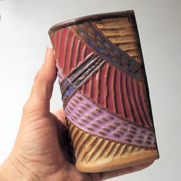 Abstract Pottery Cup Handmade Textural Design Functional Tableware  8 oz