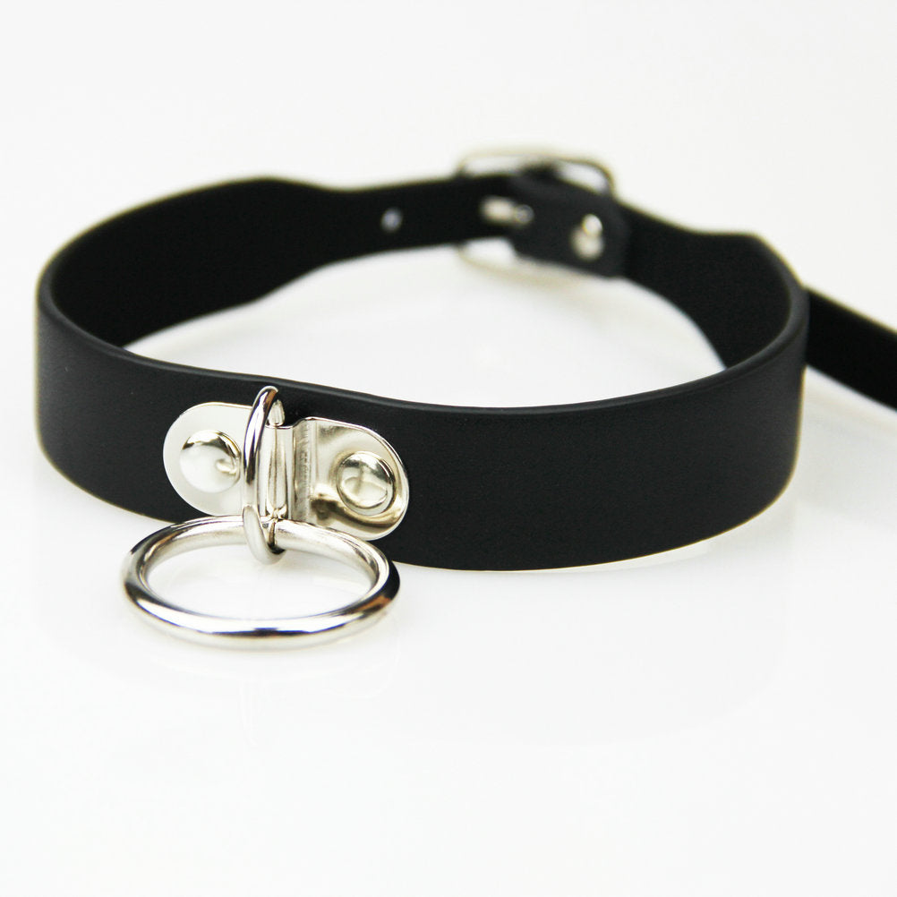 Black Leather Collar with Ring